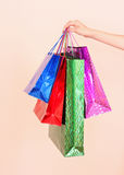 hand  holding   shopping bags Royalty Free Stock Photo