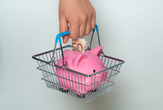 Hand holding shopping basket with piggy bank Royalty Free Stock Images
