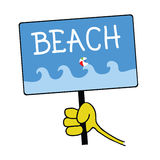 Hand holding a sign with a message for beach Stock Images