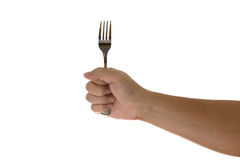 Hand holding a silver fork  isolated on white. Hand holding a silver fork isolated on white  background Royalty Free Stock Image