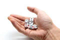 Hand holding six dices Royalty Free Stock Images