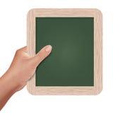 Hand holding a slate board. Illustration of a hand holding a slate board on isolate background Vector Illustration