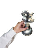 Hand holding sliver 3D USD money symbol piece. Isolated in white background Stock Photography
