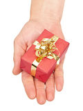 Hand holding a small christmas present Royalty Free Stock Images