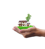 Hand holding small house Royalty Free Stock Images