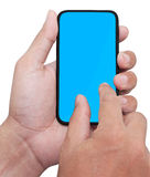 Hand holding smart phone Stock Images