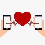 Hand holding smart phone and beating heart. Royalty Free Stock Photo
