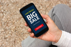 Hand holding smart phone with big sale concept on screen Stock Photo