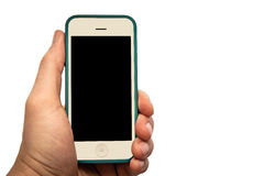 Hand holding smart phone with blank black screen Royalty Free Stock Image