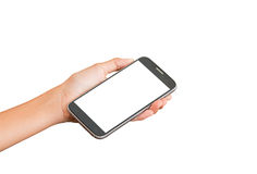 Hand holding smart phone Stock Photography