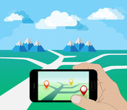 Hand Holding Smart Phone at Day. Play a Mobile Game Using Location Information. Looking For Pokemon. Vector Illustration Royalty Free Stock Photo