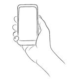 Hand Holding the Smart Phone Stock Image