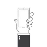 Hand holding smart phone. Flat design. Web icon. stock illustration
