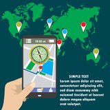 Hand holding smart phone, gps map on mobile. Royalty Free Stock Photos