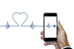 Hand holding smart phone with heart rhythm ekg, and heart shape, isolated on white background Stock Images