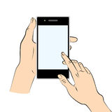 Hand holding a smart phone. Human hands holding a black smart phone Royalty Free Stock Image