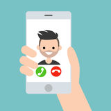 Hand holding a smart phone. Incoming call from young bearded man. / flat illustration royalty free illustration