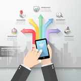 Hand holding smart phone with Internet of things Royalty Free Stock Image