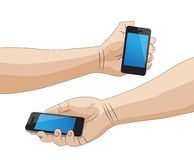 Hand holding a smart phone. Isolated stock illustration