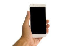 Hand holding smart phone on isolated. Royalty Free Stock Images