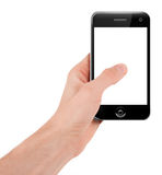 Hand holding a smart phone Royalty Free Stock Photography
