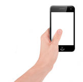 Hand holding a smart phone. Isolated on white Stock Photos