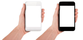 Hand holding a smart phone isolated. On white Stock Photography