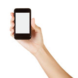 Hand holding smart phone isolated on white Royalty Free Stock Photography