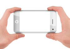 Hand holding a smart phone isolated on white Stock Image