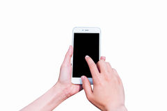 Hand holding smart phone. Stock Photos