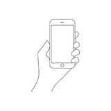 Hand Holding the Smart Phone vector illustration