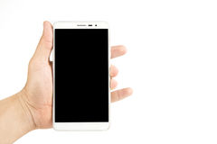 Hand holding smart phone. royalty free stock images