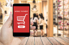 Hand holding smart phone with mobile payment and  Shopping Cart. Royalty Free Stock Photography