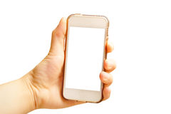 Hand holding smart phone (Mobile Phone) isolate on white backgro Stock Photos