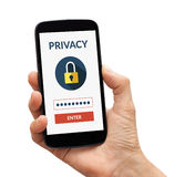 Hand holding smart phone with online privacy concept on screen. Hand holding a black smart phone with online privacy concept on screen. Isolated on white Stock Images