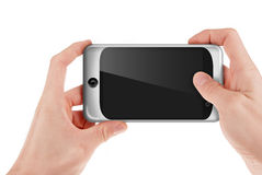 Hand holding a smart phone palmtop. Isolated on white Royalty Free Stock Photo