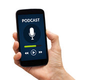 Hand holding smart phone with podcast concept on screen Royalty Free Stock Photos