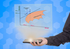 Hand holding smart phone  with the Portfolio management diagram Stock Photos