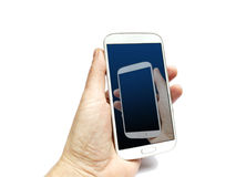 Hand holding smart phone with the same hand on screen Royalty Free Stock Photo