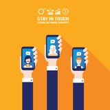 Hand holding smart phone Social network and communication concept. Vector illustration Stock Images