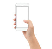 Hand holding smart phone on white background clipphing path insi Stock Image
