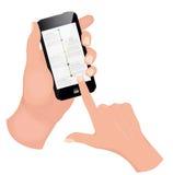 Hand holding smart phone on white background. Stock Photos