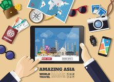 Hand holding smart tablet booking travel destination.Asia famous places.Vector concept banners in flat style with the set of stock image