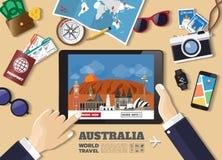 Hand holding smart tablet booking travel destination.Australia f Royalty Free Stock Photo