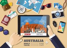 Hand holding smart tablet booking travel destination.Australia famous places.Vector concept banners in flat style with the set of stock images