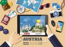 Hand holding smart tablet booking travel destination.Austria fam Stock Images