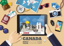Hand holding smart tablet booking travel destination.Canada famous places.Vector concept banners in flat style with the set of stock photos