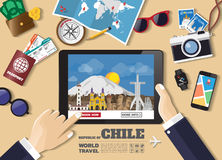 Hand holding smart tablet booking travel destination. Chile famo Royalty Free Stock Photo
