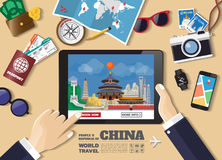 Hand holding smart tablet booking travel destination.china famou Stock Photos