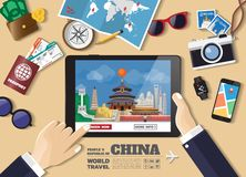 Hand holding smart tablet booking travel destination.China famous places.Vector concept banners in flat style with the set of royalty free stock photo